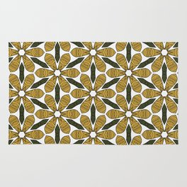 Hand Drawn Yellow Flower & Green Leaves Pattern Rug