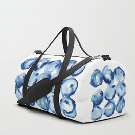 Indigo Circles Watercolor Pattern Duffle Bag
