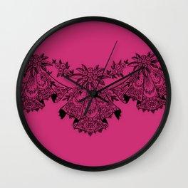 Vintage Lace Hankies Pink Yarrow Wall Clock