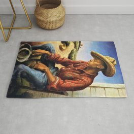 Classical Masterpiece 'The Waterboy' by Thomas Hart Benton Rug