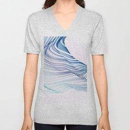 Etherial Wave - blue, mint and pale pink on white Unisex V-Neck