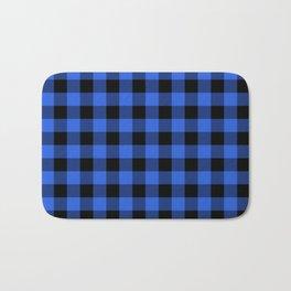 Royal Blue and Black Lumberjack Buffalo Plaid Fabric Bath Mat