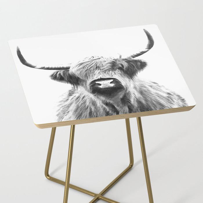 Black and White Highland Cow Portrait Side Table