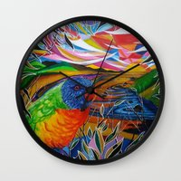 paradise Wall Clocks featuring Paradise by shannon's art space