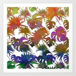 Abstract modern pink teal lavender watercolor tropical leaves Art Print