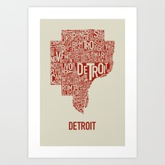 Detroit Map Red & Tan Art Print
