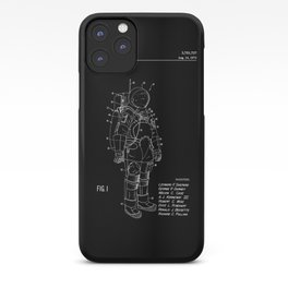 NASA Space Suit Patent - White on Black iPhone Case