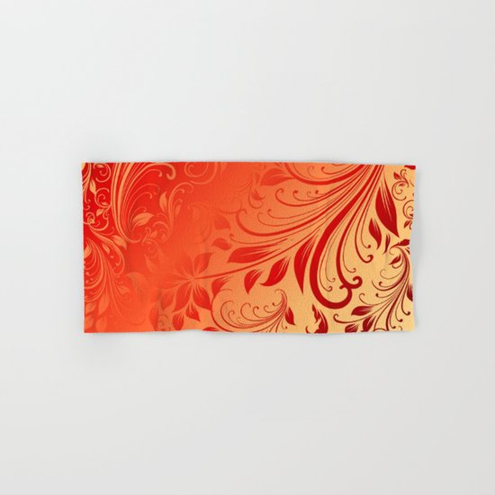 Orange red swirls leaves  Hand & Bath Towel