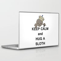 meme Laptop & iPad Skins featuring Keep Calm and Hug a Sloth with Crown Meme by The Eclectic Mind