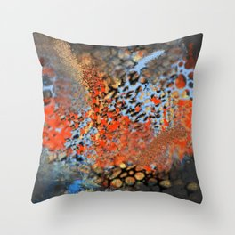 Blue, Orange, Black, Explosion Abstract Throw Pillow