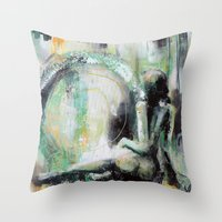 sarah paulson Throw Pillows featuring Sarah by Andrea Creates