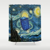 quidditch Shower Curtains featuring Tardis Dr. Who Starry Night by neutrone