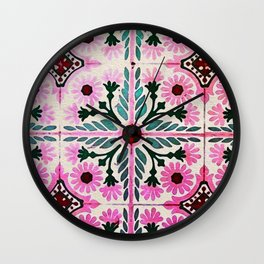 Pink Morrocan tiles in watercolor Wall Clock