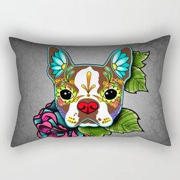 Boston Terrier in Red - Day of the Dead Sugar Skull Dog Rectangular Pillow