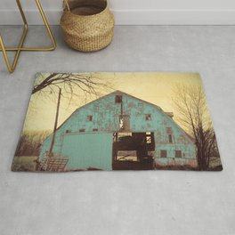 Rustic Teal Barn Modern Country Cottage Chic Farmhouse A454 Rug