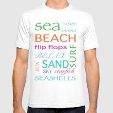 Beach typography Mens Fitted Tee White MEDIUM