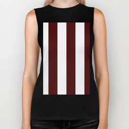 Wide Vertical Stripes - White and Bulgarian Rose Red Biker Tank