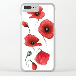 Poppies colored Clear iPhone Case