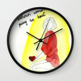 Unknown woman giving her heart Wall Clock