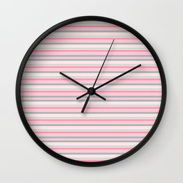 Gray and Pink Striped Pattern Wall Clock