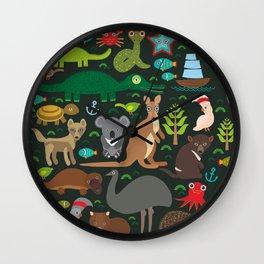 Animals Australia: Echidna Platypus ostrich Emu Tasmanian devil Cockatoo parrot Wombat snake turtle Wall Clock