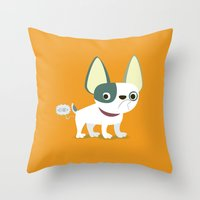 frenchie Throw Pillows featuring Frenchie by Fabio Rex