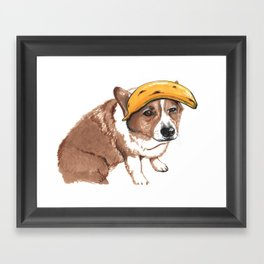 Corgi and banana Framed Art Print