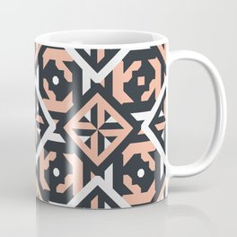 Nuts and Bolts // Spanish floor tile pattern in coral black and white Coffee Mug