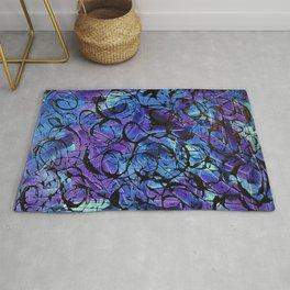 Blue and Purple with Black Tar Acrylic Swirls Rug