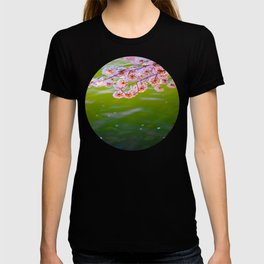 Mid Century Modern Round Circle Photo Graphic Design Pink Japanese Blossoms Over Green Pond T-shirt