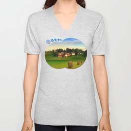 Hay bales and country village | landscape photography Unisex V-Neck
