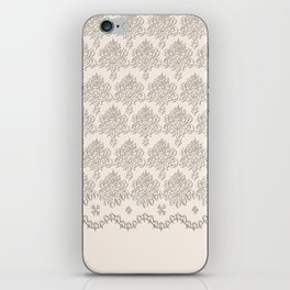 """Damask """"Cafe au Lait"""" Chenille with Lacy Edge iPhone Skin"""