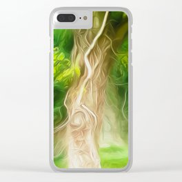 Dream Light Green Tree Clear iPhone Case
