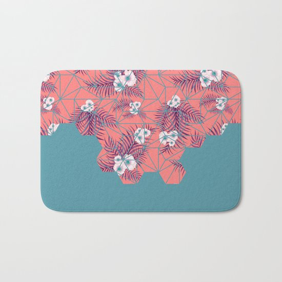 Tropical Fluo Tiles #society6 #decor #buyart Bath Mat