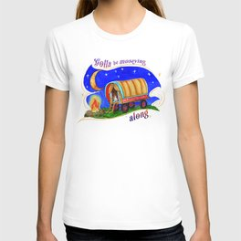 Gypsy Chicken in a covered Wagon T-shirt