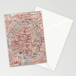 Vintage Map of Braunschweig Germany (1905)  Stationery Cards