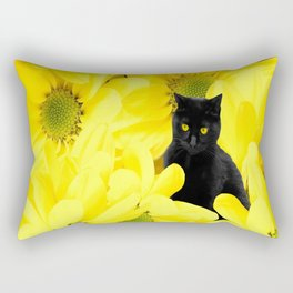 Black Cat Yellow Flowers Spring Mood #decor #society6 #buyart Rectangular Pillow