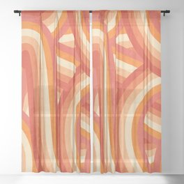 Red, Orange and Cream 70's Style Rainbow Stripes Sheer Curtain