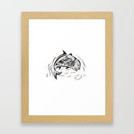 Giant Trevally Jumping Down Tribal Art Framed Art Print