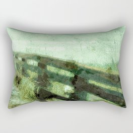 Wood Rail At Beach Rectangular Pillow