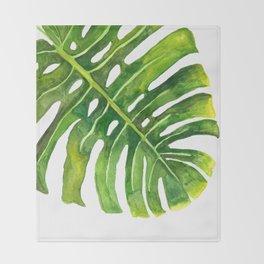 Watercolor Monstera Leaves Throw Blanket