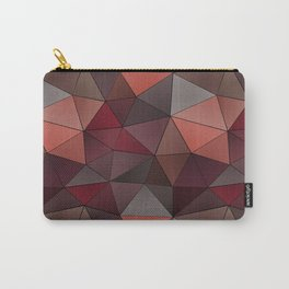 Abstract geometric polygon in gray, orange, red, brown tones. Carry-All Pouch