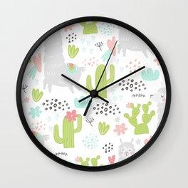Cute Llama Vector Illustration Wall Clock