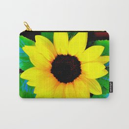 Sunflower Ilustration Yelow Green Blue Brown Summer Carry-All Pouch