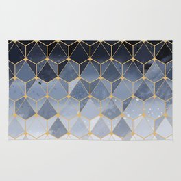 Blue gold hexagonal pattern Rug
