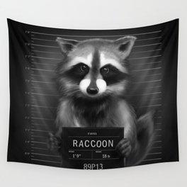 Raccoon Mugshot Wall Tapestry