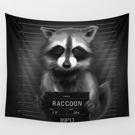 Raccoon Mugshot Wall Tapestry