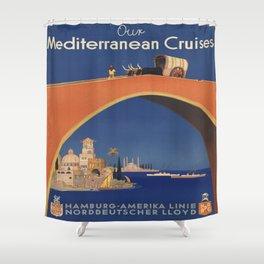 Vintage poster - Mediterranean Cruises Shower Curtain