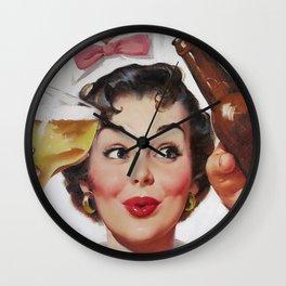 Pin Up Girl and Beer Vintage Art Wall Clock