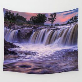 Sunset Waterfalls in Sioux Falls Wall Tapestry